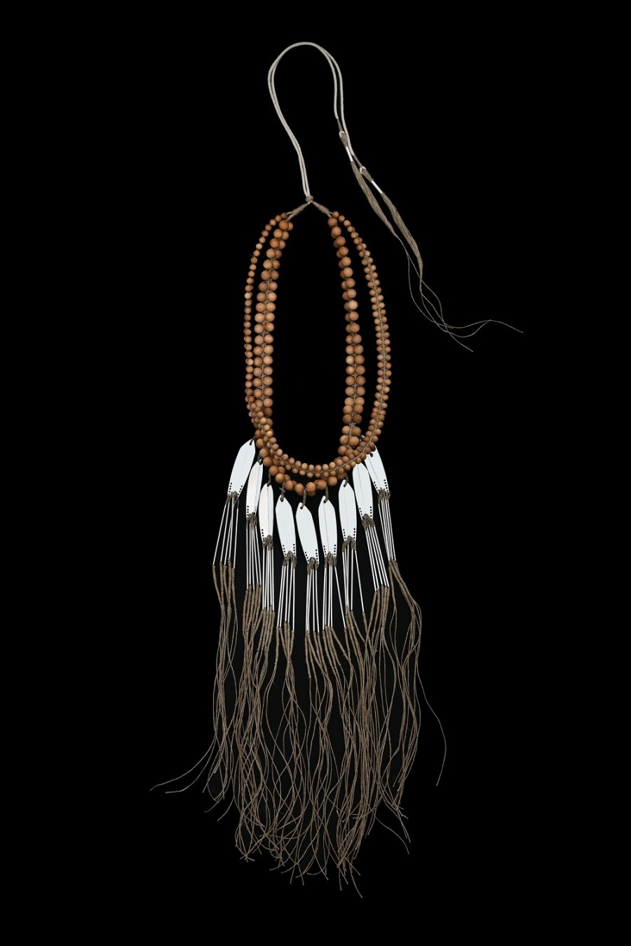 Sandalwoods big beads, stainless steel and jute tassels