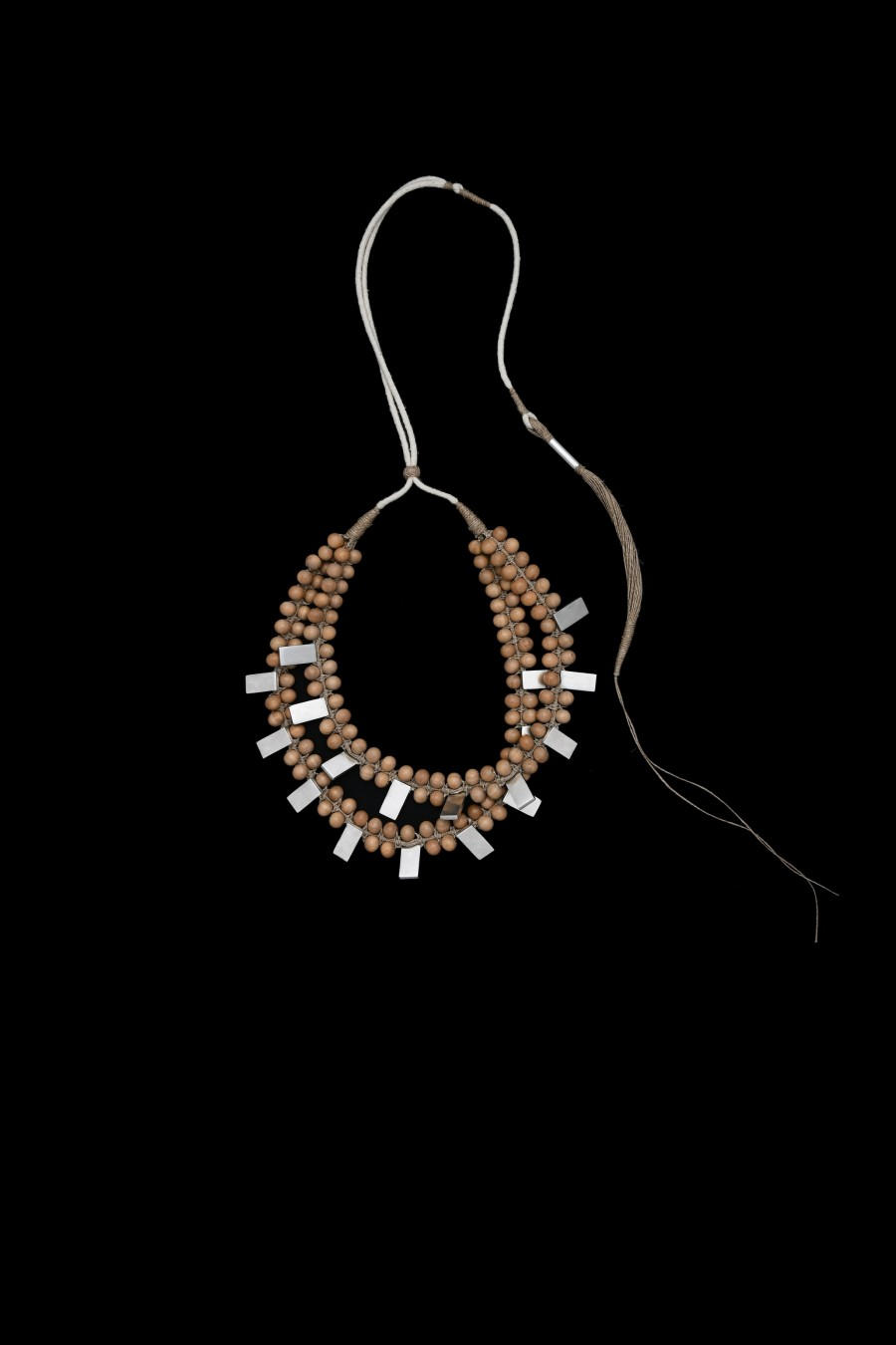 Sandalwoods small beads jute and stainless steel crescent