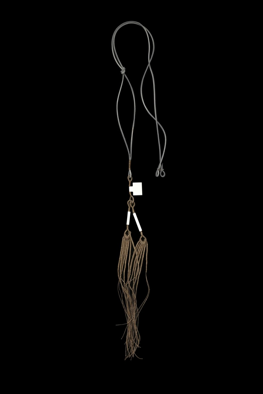 White leather jute bones and stainless steel